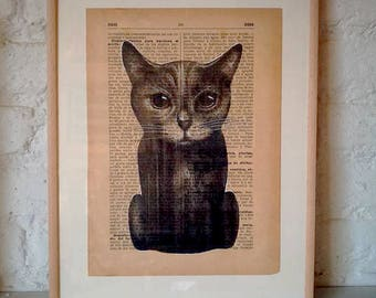 CATS No. 7. Printed drawing on recycled paper with highlights in black ink. 9,5x6,8in. Gift, Christmas, la petite illustration, cats