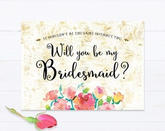 Will You Be My Bridesmaid Printable card with Watercolor Roses 2, Floral Bridal party ask invite Digital Design, DIY wedding shower download