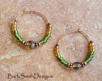 "Green and Copper Beaded Earrings-Rose Gold Hoops- 1"" Diameter in Vintage Garden (Honeycomb)"