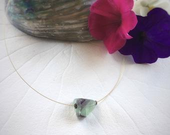 Fluorite Crystal Pendant – Handmade Minimalist Jewelry. Green crystal necklace, contemporary jewellery, contemporary design, mbpblue designs