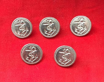 23mm Fouled Anchor Naval Button (5 Pack) - Re-Enactment, Living History