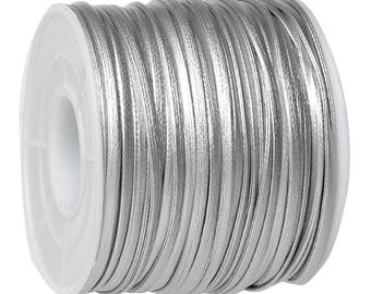 PU cord, silver cord, 2mm. the meter
