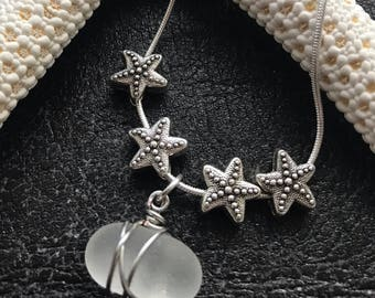 "Necklace ""Not All Stars Belong In The Sky"" Genuine English Sea Glass. Handmade in the UK. Free UK Delivery."