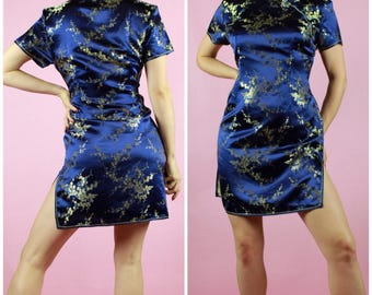90's Pure Silk Qi Pao Blue Floral Dress
