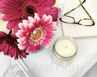 Flower Styled Stock Photography  Flower stock photos  Lifestyle Instagram photos   candle stock photo