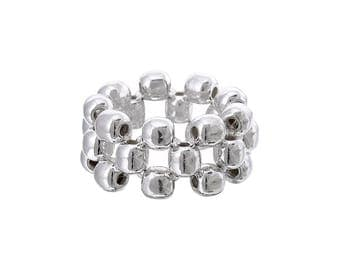 Sterling Silver, .950 Silver Ball Beads Stretch 3 Row Ring, Statement Ring, Slip on Ring, Elastic, Everyday Ring, Classic Ball Ring