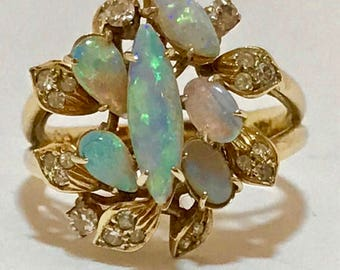 14k gold opal and diamond ring. Sz 7.5