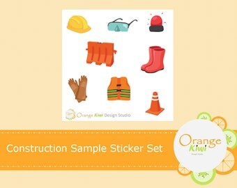 Construction Stickers, Sample Stickers, Planner Stickers