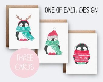 3 Card Christmas Bundle | Card Pack | Penguin Christmas Cards | Xmas | Seasonal | Cute Christmas Cards | Christmas Card Set | Card Bundle