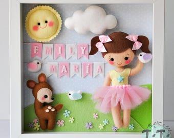 Baby Decorative Frame, Child Decoration with girl and name, Personalised Felt box frame, Personalized Nursery Decor, felt doll, felt deer