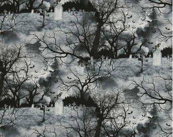 Timeless Treasures - Wicked C3761 Grey Graveyard  **Half Yard Cuts**