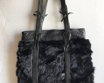 Black rabbit fur bag , brown hand made Sharlize & Kyle Couture made in USA.