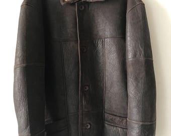 Classic Design Long Vintage Genuine Leather Coat With Sheepskin Fur Lining Man Size Extra Large