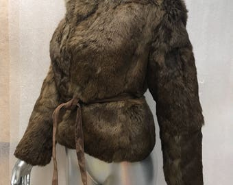 Exclusive Short Vintage Brown Genuine Rabbit Fur Coat With Suede Belt Woman Size Small.