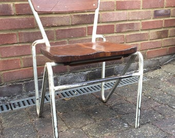 Mid Century Industrial Steel Work Stacking Chair with Mahogany Seats and back - 1950's (Shipping is extra)