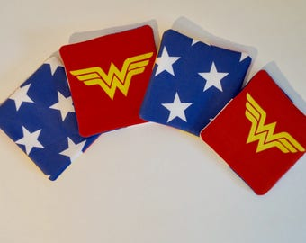Wondrous - Classic Wonder Woman Inspired Set of 4 Fabric Drink Coasters