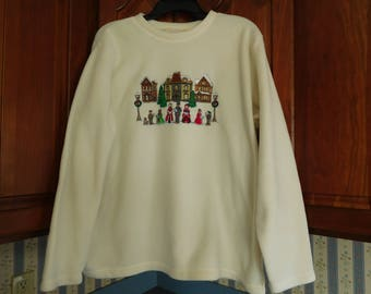 Vintage Cream Color Christmas Fleece Top by Basic Edition Holiday Size L - XL