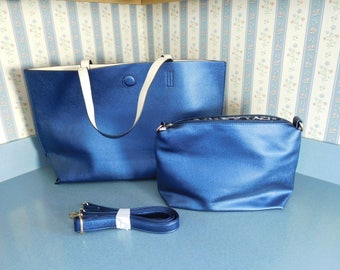 Two Piece Set of Royal Blue P Luca Milan Bag and Shoulder/Crossbody Purse in Faux Leather Like New