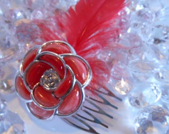 Flower and Red Feather wedding hair comb
