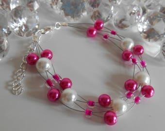 Girly bracelet twisted wedding fuchsia and white