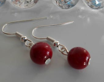 Wedding earrings Burgundy pearls