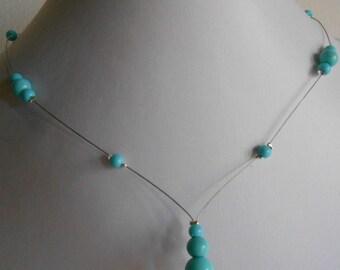 Wedding necklace cascade turquoise beads