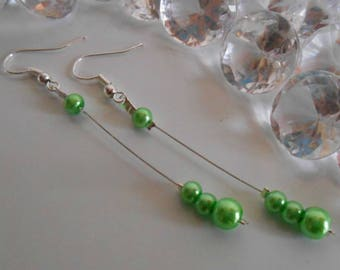 Dangle wedding Pearl Earrings Pearl Green
