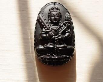 buddha pendant gemstone obsidian Mexico 6cm