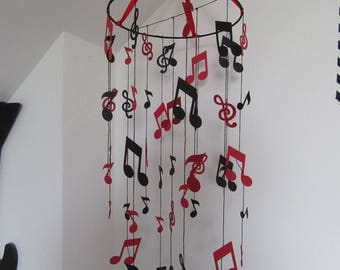 Hanging mobile musical notes handmade