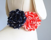 Patriotic Collar Flower for Dog, July 4th American Flag Pet Collar Flowers, Shabby Patterns Red White Blue for Memorial / Independence Day