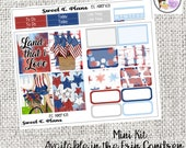 America 4th of July Bbq Gathering Fireworks  Mini Weekly kit Erin Condren Happy Planner planner stickers