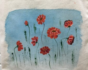 Hand-painted totes Canvas tote ~ poppy