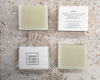 Lemon Soap - Handmade Natural olive oil Soap - wedding favors