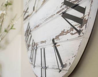 "30"" White Distressed Wall Clock, Large Wall Clock, Farmhouse Style"