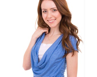 Classic Breastfeeding Shirt   Summer Nursing Shirt   Short Sleeve Nursing Top   Blue Breastfeeding Top   Gift For New Mom   Gift Under 30