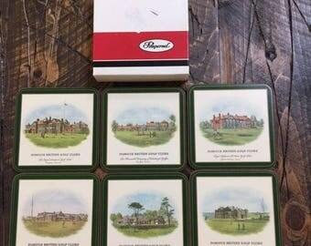 Pimpernel British Golf Courses Cork Backed Drink Beverage Coasters