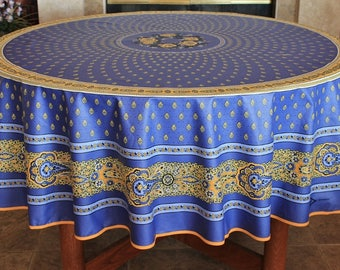 French Provence BASTIDE BLUE Round Cotton Tablecloths - French Marat Provencal Home Decor - Table Decor Gift - Matching Napkins Available