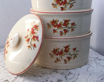 Universal Cambridge Pottery Stackable Casserole Dishes With Lid  in the Bittersweet Mid century Retro Kitchenalia