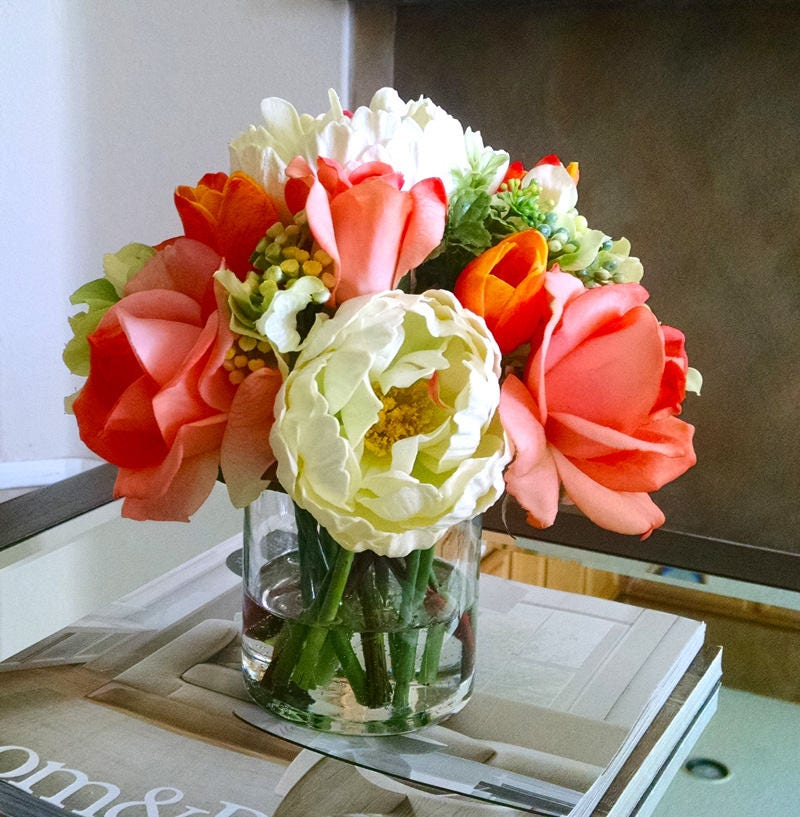 Fall Real Touch Flowers Arrangement-Autumn Floral Arrangement-Real Touch Flowers in Home Decor-Fake flowers-Real Touch Peonies-Orange Roses