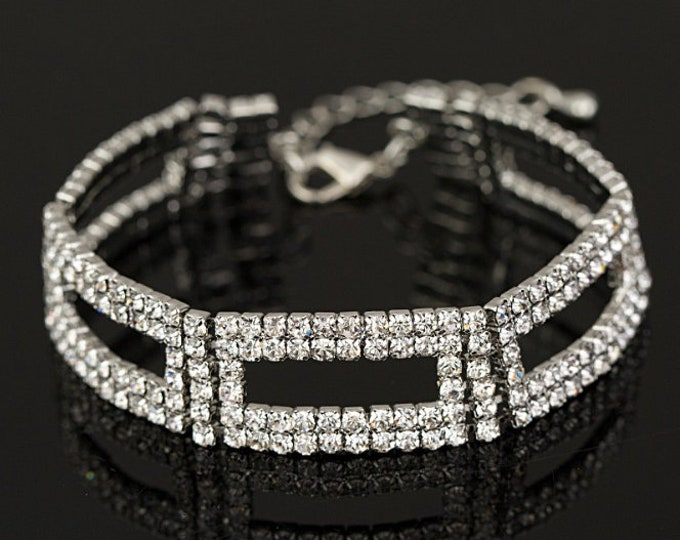 Nora Clear Crystal Competition Bracelet for IFBB, NPC, and NANBF Bikini Fitness Bodybuilding Contests
