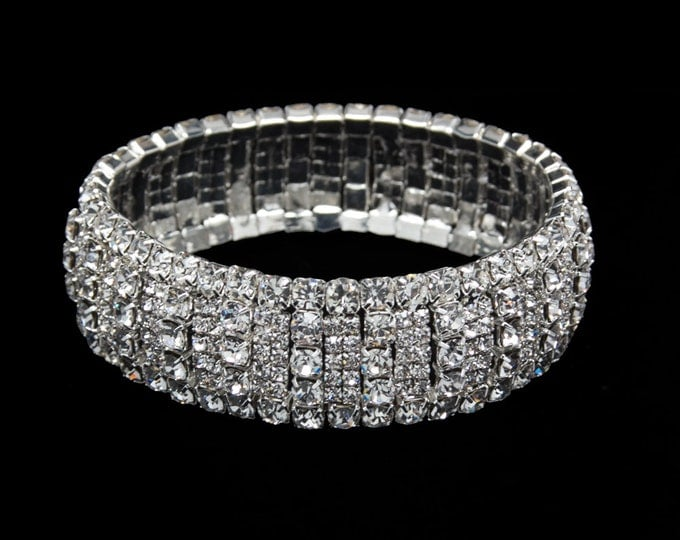 Brianna Clear Crystal Competition Stretch Bracelet for NPC Bikini Fitness Bodybuilding Contests