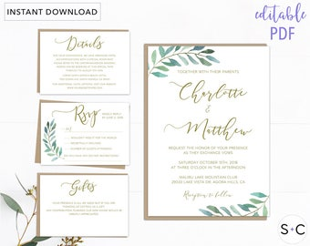 Greenery Wedding Invitation Template, Floral Wedding Invitations, Garden Wedding Invitation, Printable Wedding Invitation, Botanical Wedding