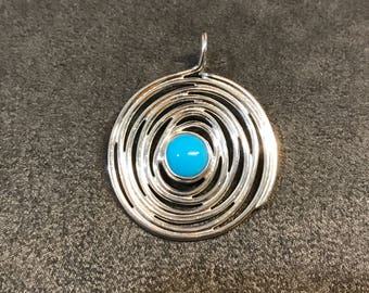 Vintage Sterling silver handmade pendant with turquoise, Thailand 925 silver swirl, stamped 925