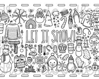 Let it Snow Coloring Page- Instant Download