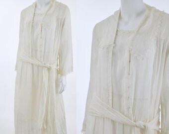 1920s White Voile Dropped Waist Dress-20s Lawn Party-Tea Dress-Gatsby-Jazz Era-Garden Party-Long Sleeved-L-XL
