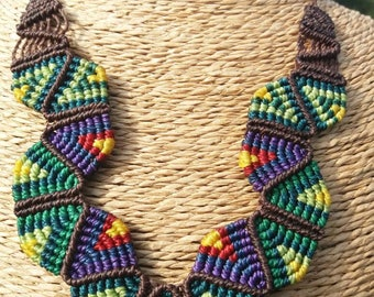 Colorful ethnic macrame necklace, handmade. Handmade ethnic necklace