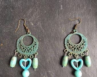 ethnic vintage earrings patina verdigris