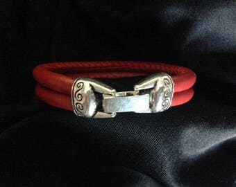 Bracelet Double Red leather