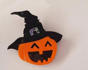 Halloween brooch witch pumpkin