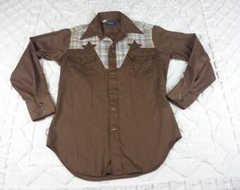 Dee Cee Rangers Mens Rockabilly Shirt Western Pearl Snap Star Yoke Dress Tail 15 M 15.5 Vtg